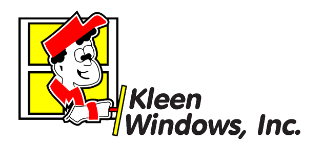 Kleen Windows Logo.  Drawing of a man cleaning a window with a squeegee